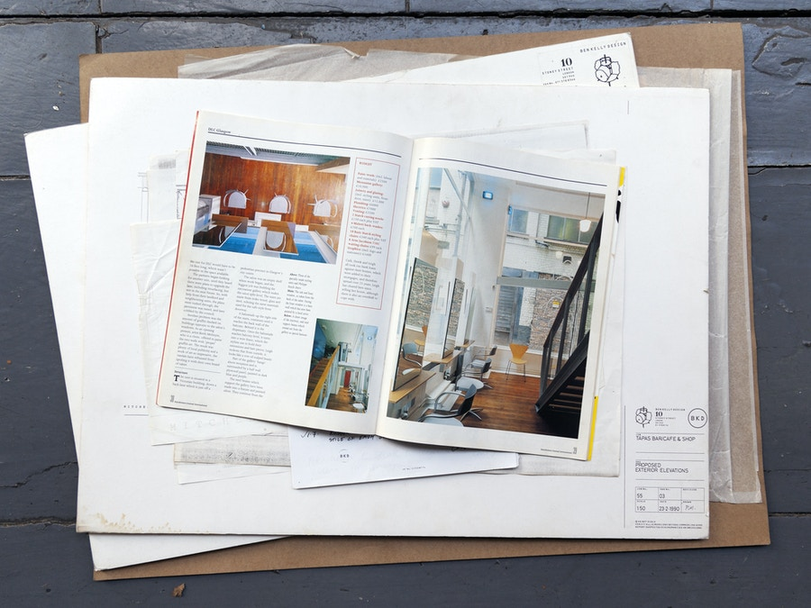Magazine spread with interior photographs of DLC hairdressers